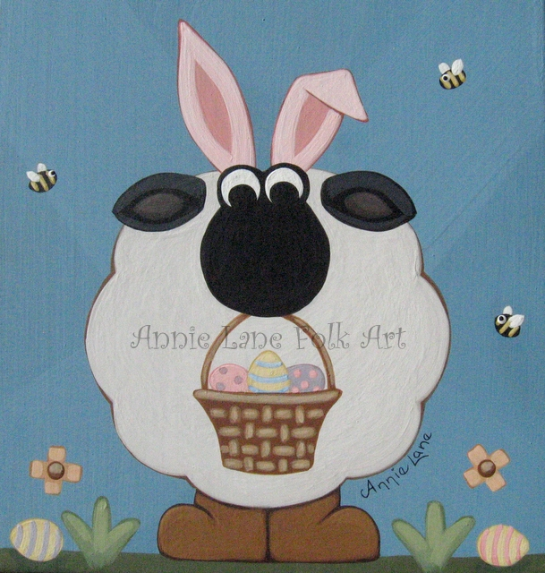 Identity Theft - Whimsical Easter Sheep Animal Art Painting