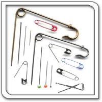 Dressmakers & safety pins for clothing manufacture